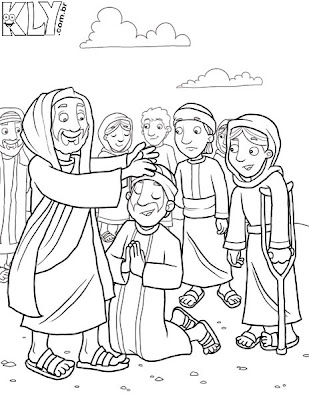 Jesus Heals The Paralytic Coloring Page. jesus heals a paralytic ...