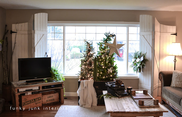 Christmas living room with Christmas tree forest via Funky Junk Interiors - Christmas home tour 2012