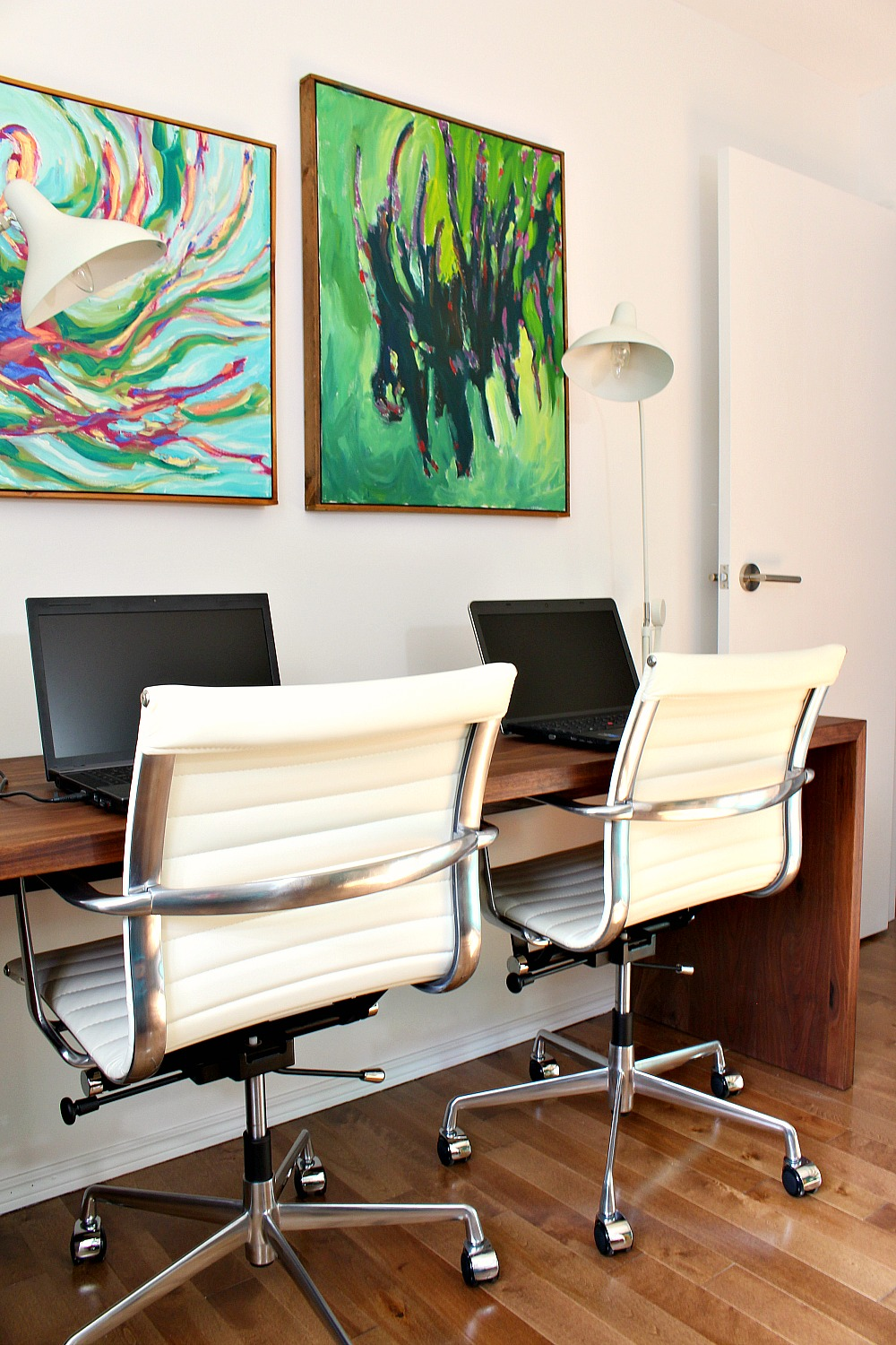 colorful mid century modern inspired home office makeover before after