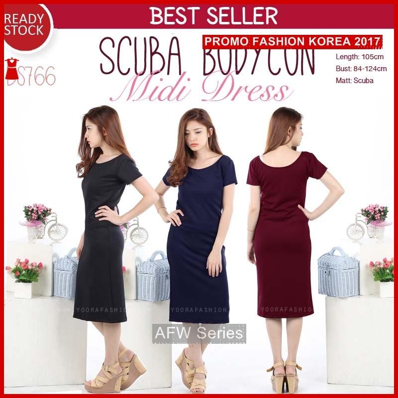 BAMFGW044 Scuba Midi Dress Wanita PROMO BMG