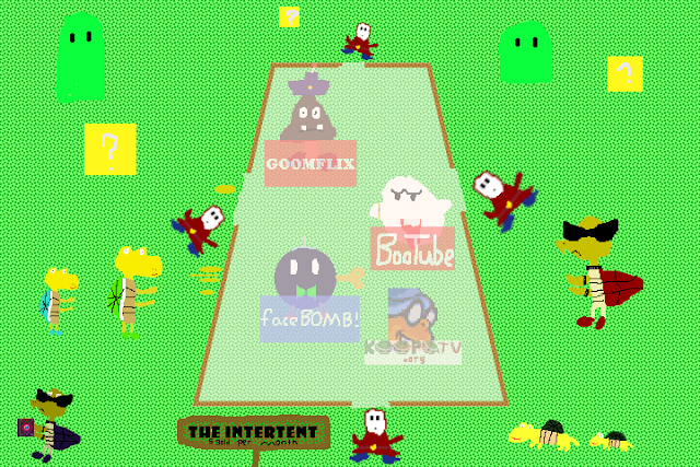 How the Internet works with Super Mario Bros. characters tent booths analogy KoopaTV KoopaTV.org Koopa Troopas Shy Guys BooTube