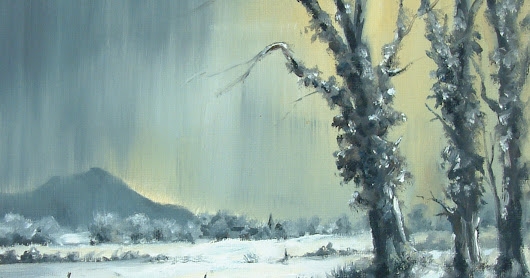 Painting of Winter in the Towy Valley