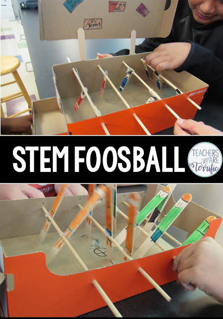 STEM Foosball! This challenge will have students building a foosball model that has two teams trying to kick a ball or marble. Students create the foosball players, design the format of the players, and add details to make the set fun. Let the competitions begin!