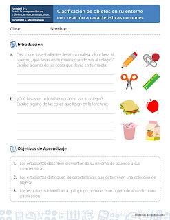 ►Guia De Contenidos Matematicas Grado 01 Primaria - Unidad 1.1