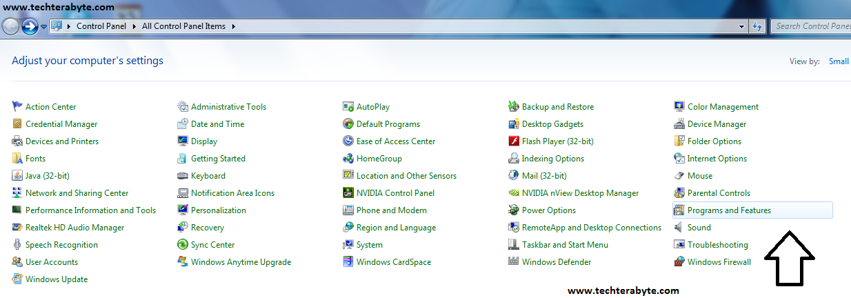 Select Programs and Features - techterabyte