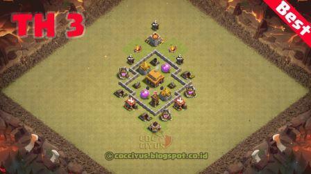 Pertahanan clash of clans town hall 3 base war