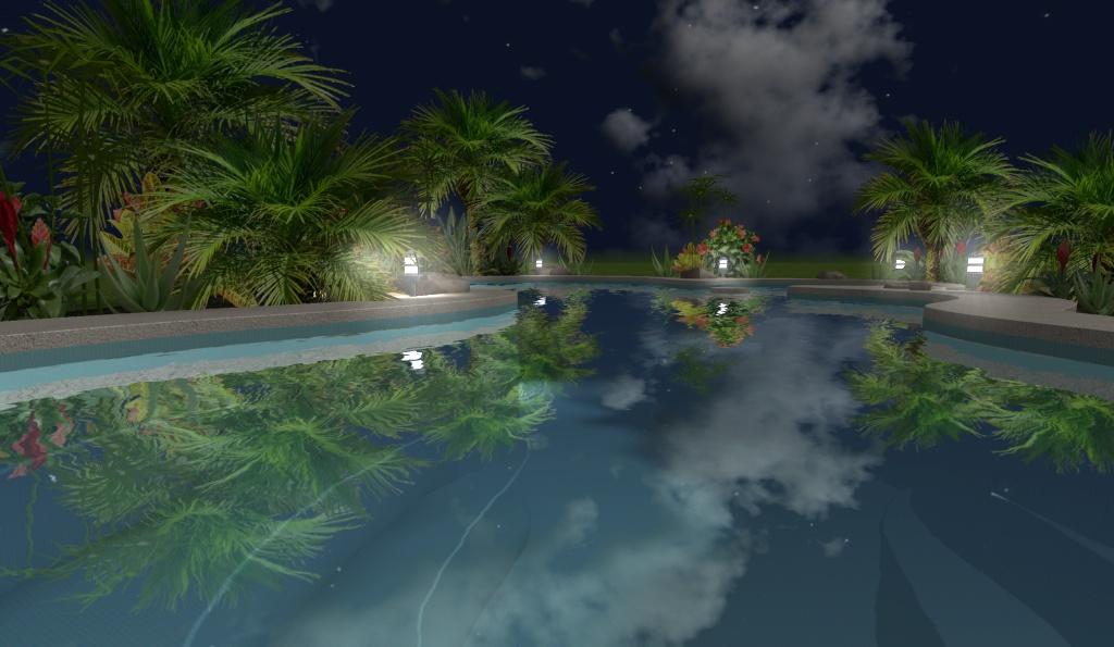 Modelo de una hermosa piscina residencial con formas for Programa diseno de piscinas 3d gratis