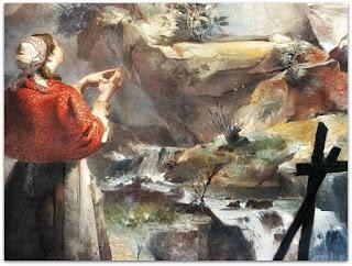 """A Prece e A Cascatinha - """"A Aparição da Virgem"""" - Aldo Locatelli (1960), Igreja de Nossa Senhora de Lourdes, Porto Alegre"""