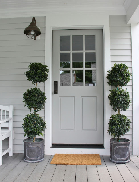 Above Image Prettiest Pale Grey Front Door With Chalk White Trim By Henhurst Interiors