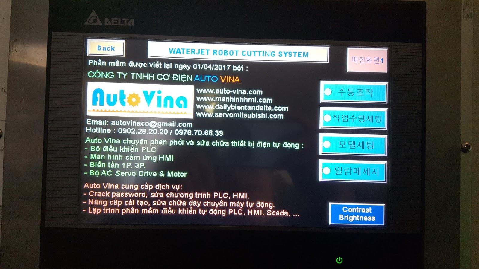 Thông tin giới thiệu Auto Vina trên màn hình Delta DOP-B10S411