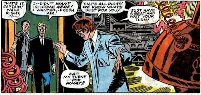Amazing Spider-Man #59, don heck, john romita, george stacy is led into a room where a mad scientist waits with his brainwashing device