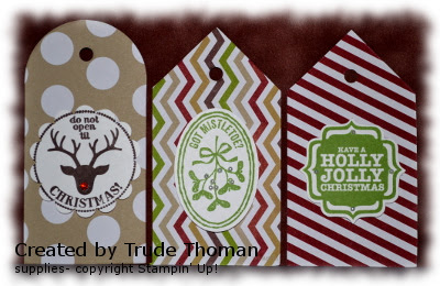 gift tags, Christmas, Stamp with Trude, Very Merry Tags, Stampin' Up!, Stamp with Trude
