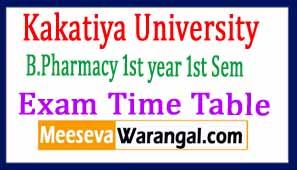 Kakatiya University B.Pharmacy 1st year 1st Semester Exam Time Table 2019