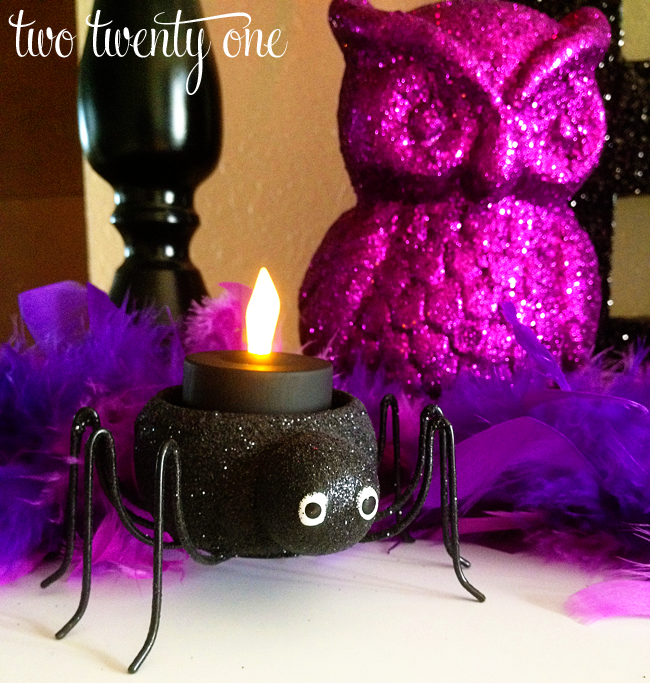 ive had the black spiders for a few years now the battery operated tea lights are new they were originally orange but i fixed that with a little acrylic - Glitter Halloween Decorations