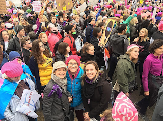 smiling at the women's march