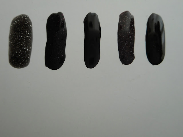 Left-to-right: L'oreal #940 Black Diamond, Essie #938 Haute Tub, Essie #56 Licorice, Essie #937 Froc N' Roll, Panthenols Chroma #101