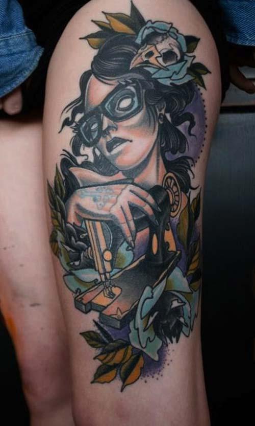 kadın üst bacak dövme çeşitleri woman upper leg tattoo design