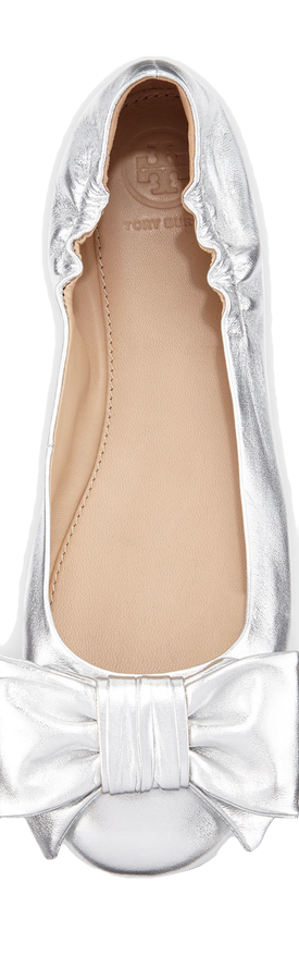 Tory Burch Divine Bow Driver Ballerina Flat, Silver