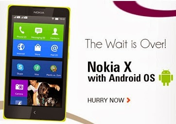 Dual SIM NOKIA-X (Android Mobile) with 1GHz Processor   512 MB RAM   4″ Display (IPS LCD) Touch Screen worth Rs.9499 for Rs.7019 Only (Lowest Price Offer)
