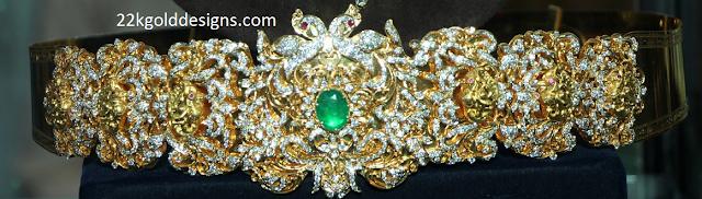 Peacock Design Diamond Waist Belt
