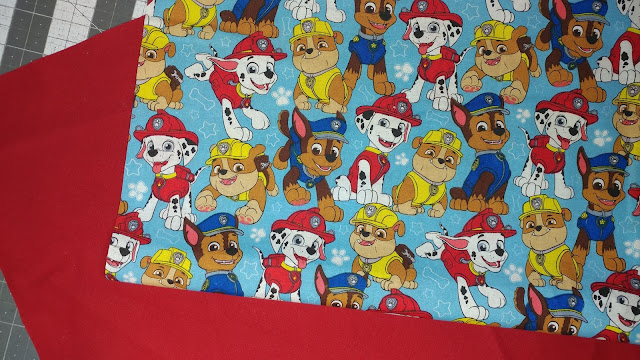 Paw Patrol fabric for a boy's tote bag