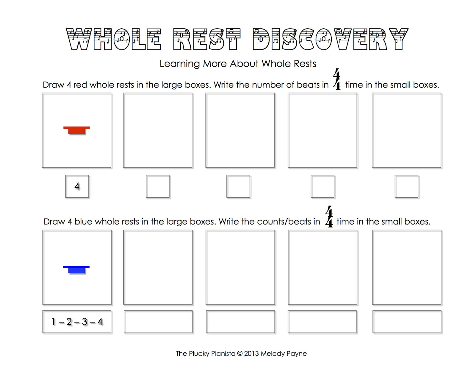 Whole Rest Discovery Sheet
