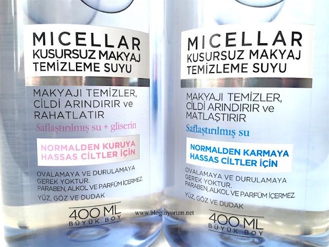 loreal paris micellar kusursuz makyaj temizleme suyu saflaştırılmış su