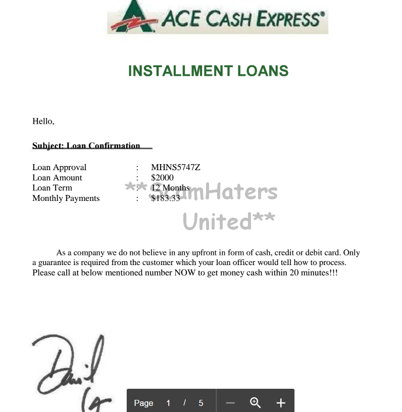 ScamHaters United: FAKE LOAN AGREEMENT !
