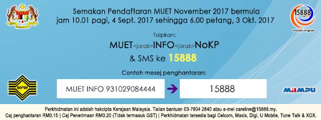 Semakan Pendaftaran MUET November 2017 Online