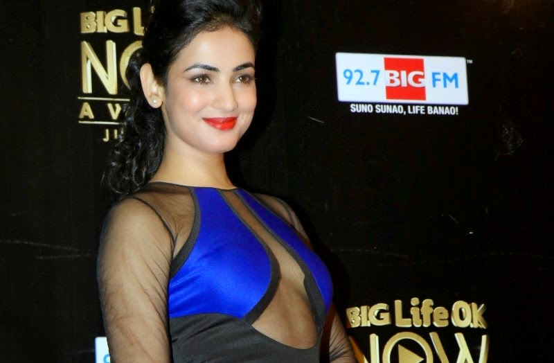 Sonal Chauhan cleavage in a See-Through Blue Dress