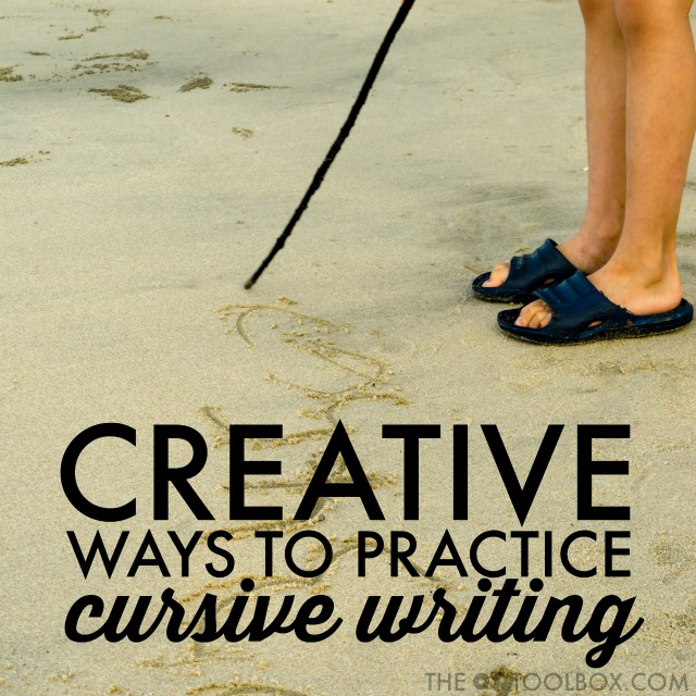 Creative ways for kids to work on cursive writing including letter formation.