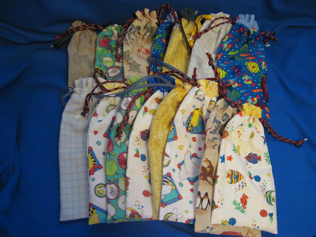 Hand made pencil pouches for OCC shoebox packing.
