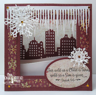 Our Daily Bread Designs Stamp Set: Christmas Card Scriptures, Custom Dies: Diorama with Layers, Icicle Border, City Skyline, Curvy Slopes, Snow Crystals, Pierced Ovals, Ovals, Christmas 2015
