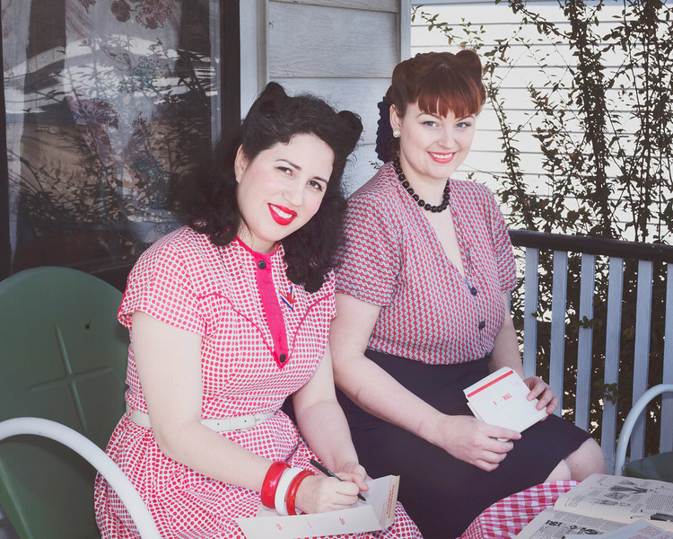 Brittany and Bunny Moreno in 1940's war era dresses