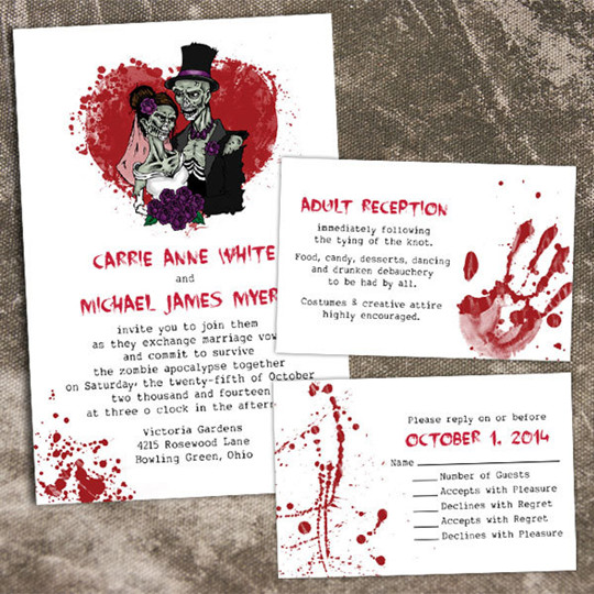 fall wedding invitations kits for halloween