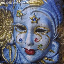 Papierservietten mit venezianischer Karnevalsmaske in blau