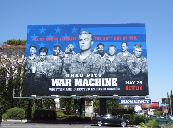 War Machine Netflix movie billboard
