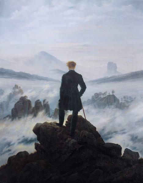 Caminhante sobre o mar de névoa, pintura de Caspar David Friedrich.