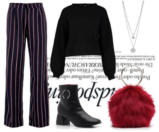 Outfit met Boohoo gestreepte broek cropped sweater,enkellaarsjes en tasje van imitatiebont