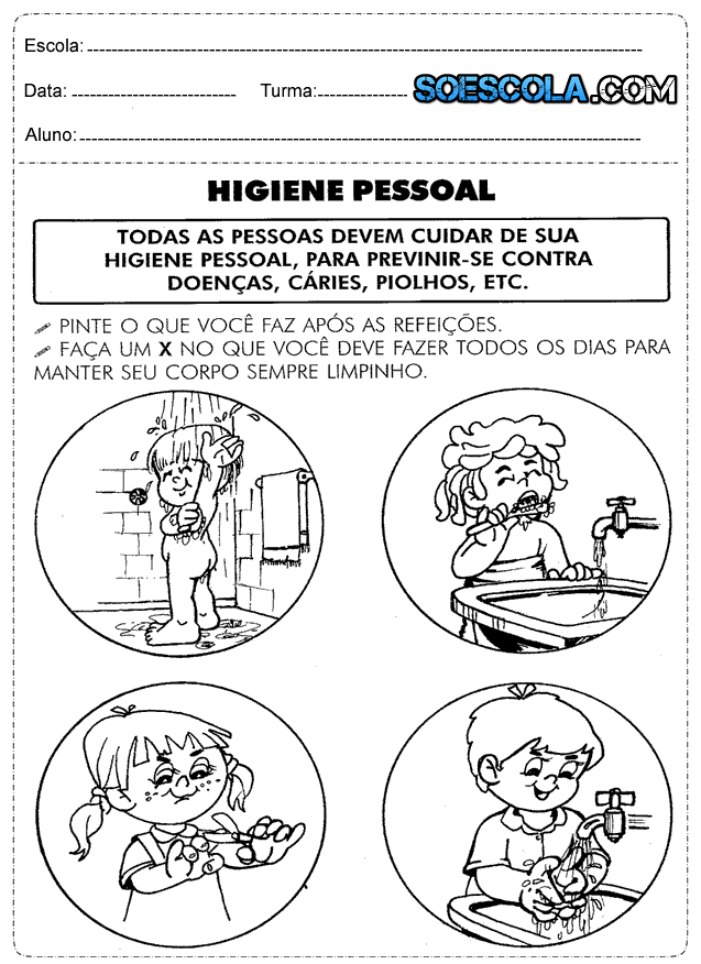 Amado Atividades de ciências 1° ano higiene — SÓ ESCOLA BH91
