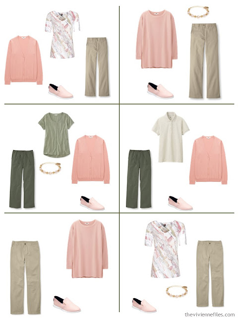 six ways to wear blush with khaki beige or olive green for warm weather