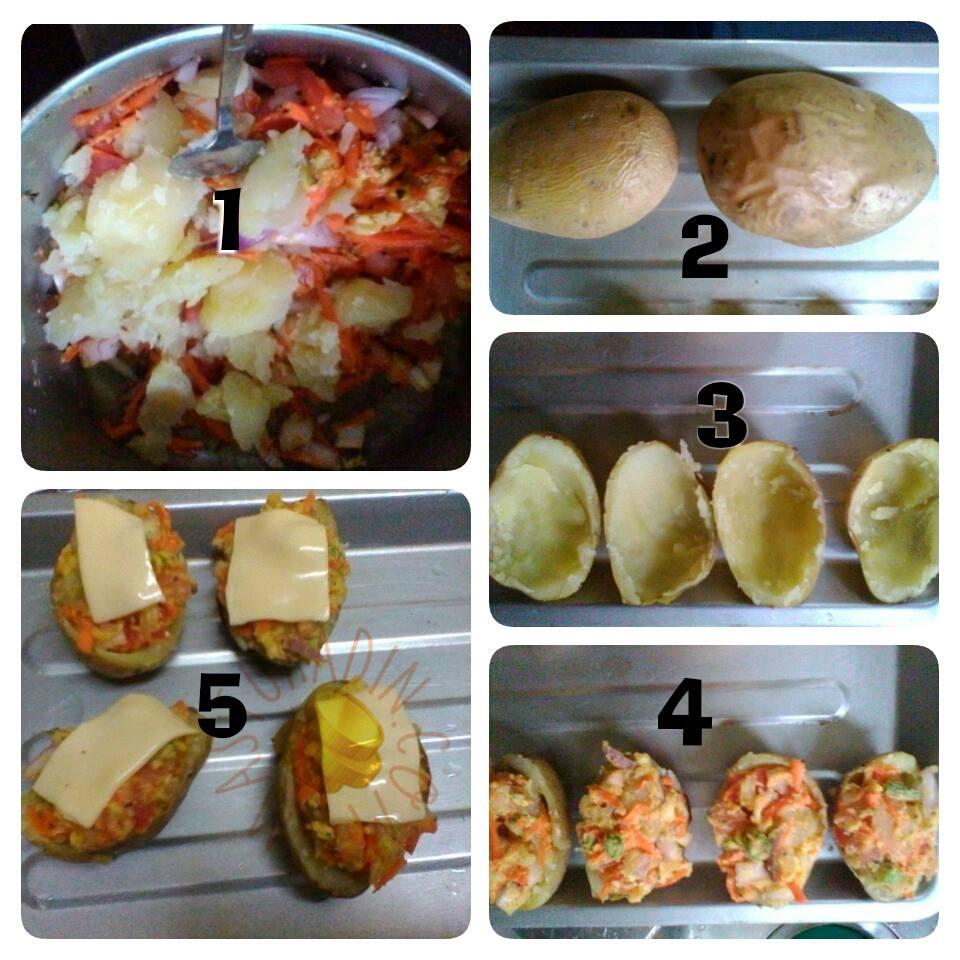 resepi mudah baked potato, kentang bakar berkeju, cara-cara, bahan-bahan