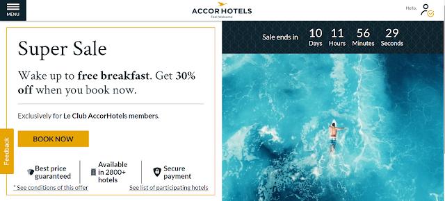 Accor 雅高酒店全球瘋狂大促Super Sale   最高可享6折房價優惠及早餐雅高A佳會員享受額外九折優惠。