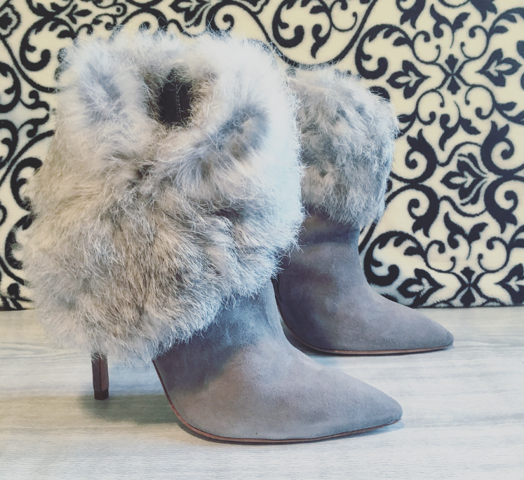 Schutz Henriette Booties Rabbit Fur Trim