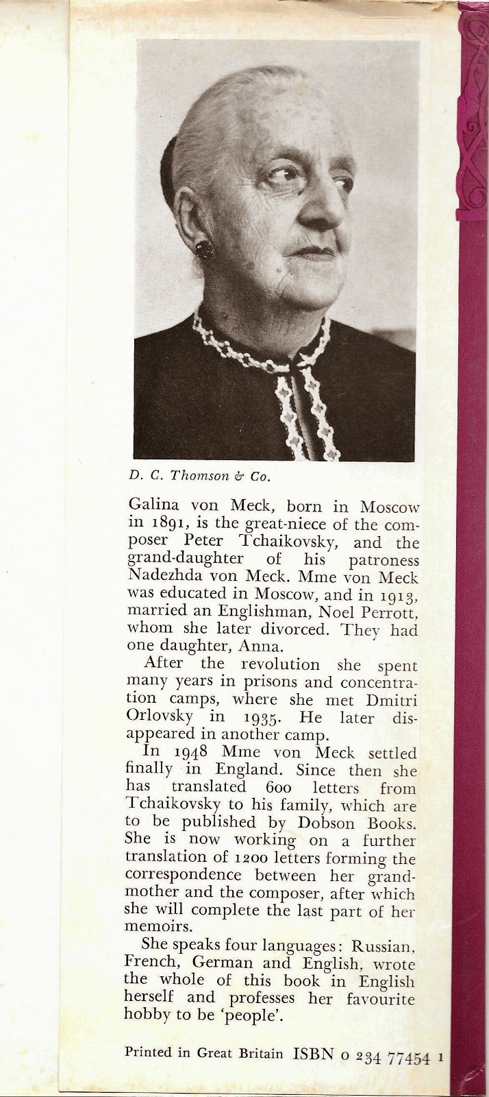 Letter (dated March 15, 1978) from Galina von Meck (1891-1985),  daughter of Nicholas von Meck & Anna Davydova;  great-niece of Tchaikovsky; grand-daughter of his patroness Nedezhda von Meck