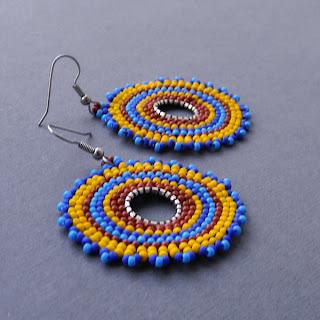 купить этнические украшения из бисера круглые серьги диски этно стиле