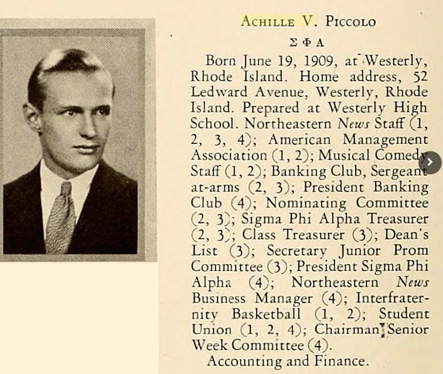 Achille V. Piccolo Jr Westerly RI college yearbook 1930