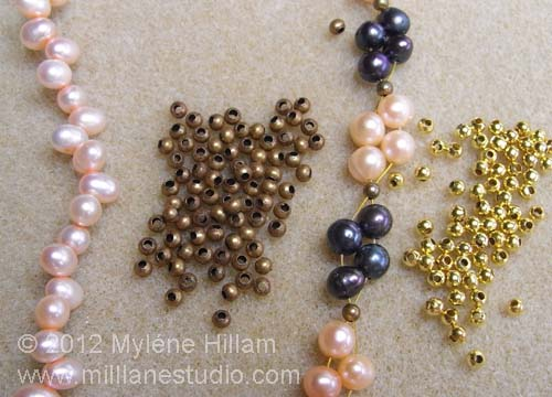 Freshwater pearls in navy and blush and gold spacer beads