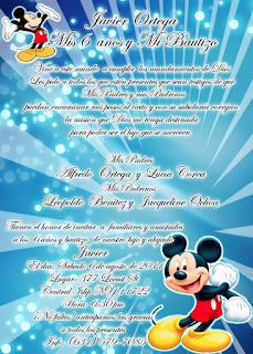 Tarjeta de Invitación de Cumpleaños Mickey Mouse