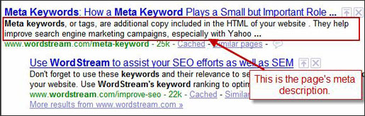 Keyword in meta description tag